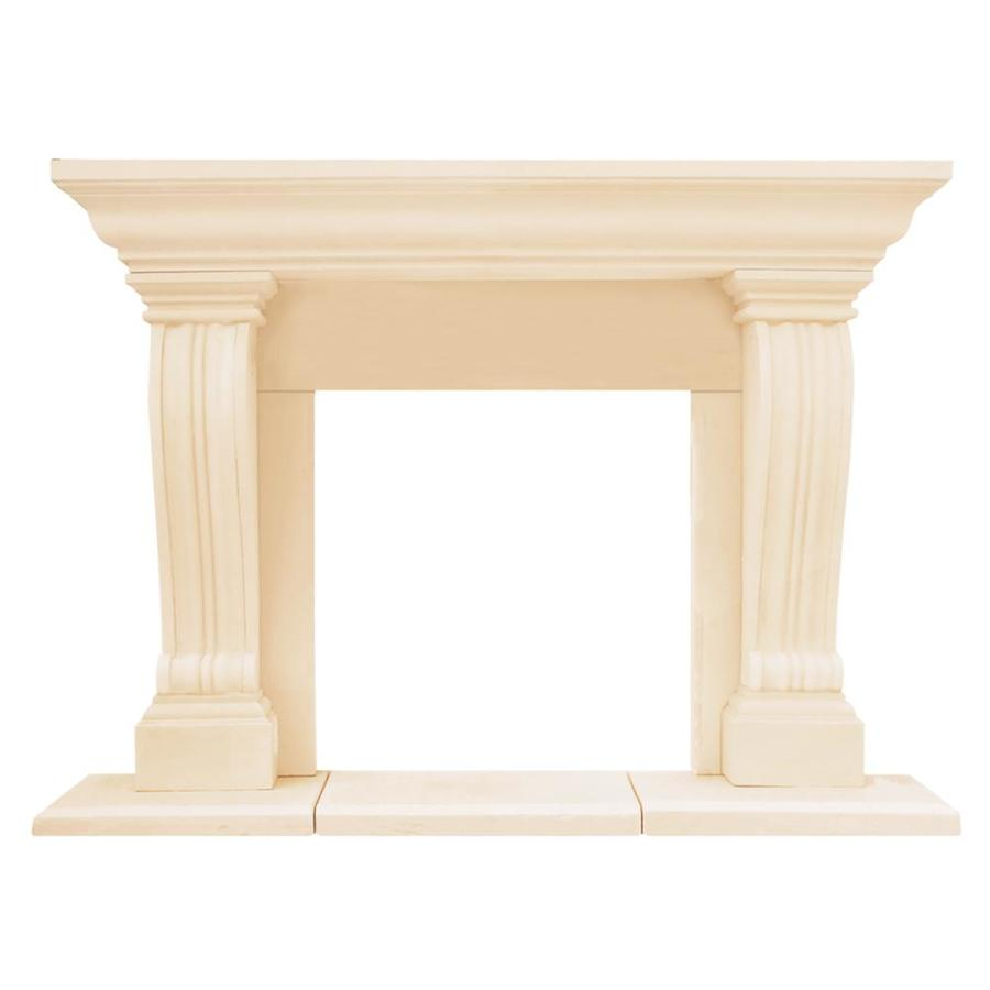 HISTORIC MANTELS LIMITED Chateau 74-in W x 54.5-in H Distressed Ivory Contemporary Fireplace Surround