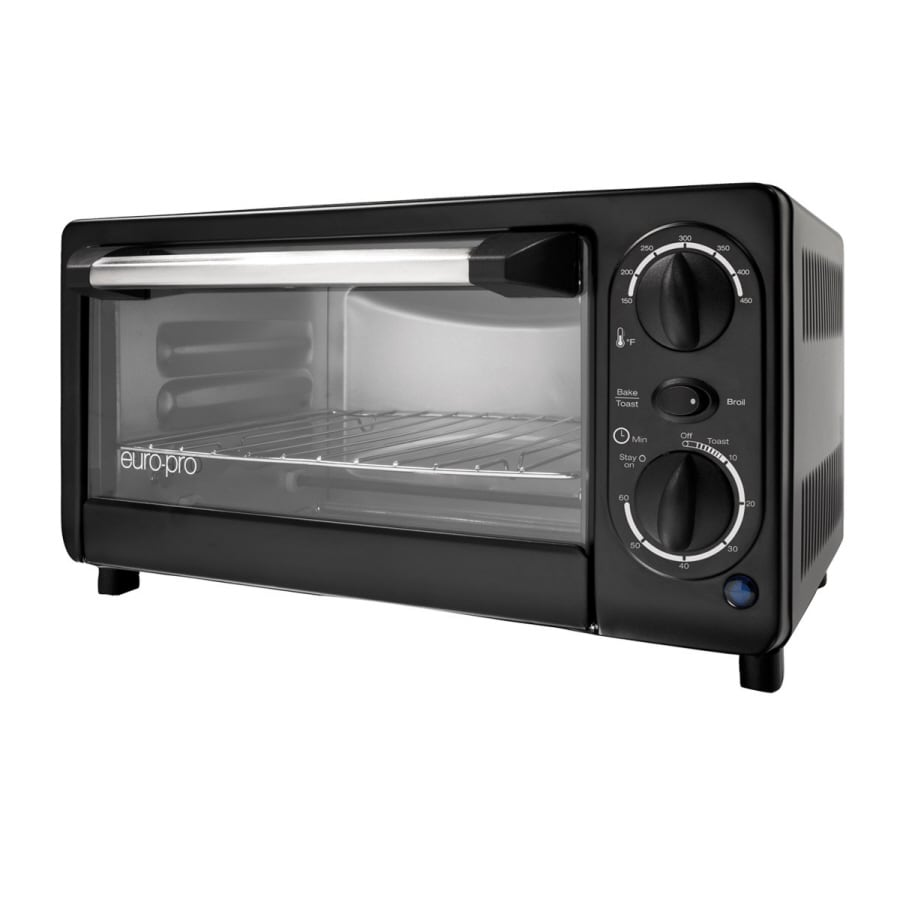 Euro-Pro 4-Slice Black Toaster Oven with Auto Shut-Off