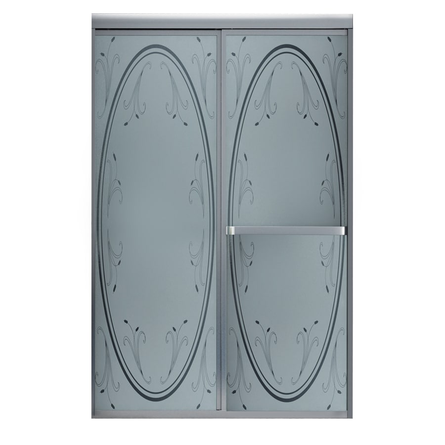 MAAX Vertiga 44.5-in to 46.5-in Framed Satin Nickel Sliding Shower Door