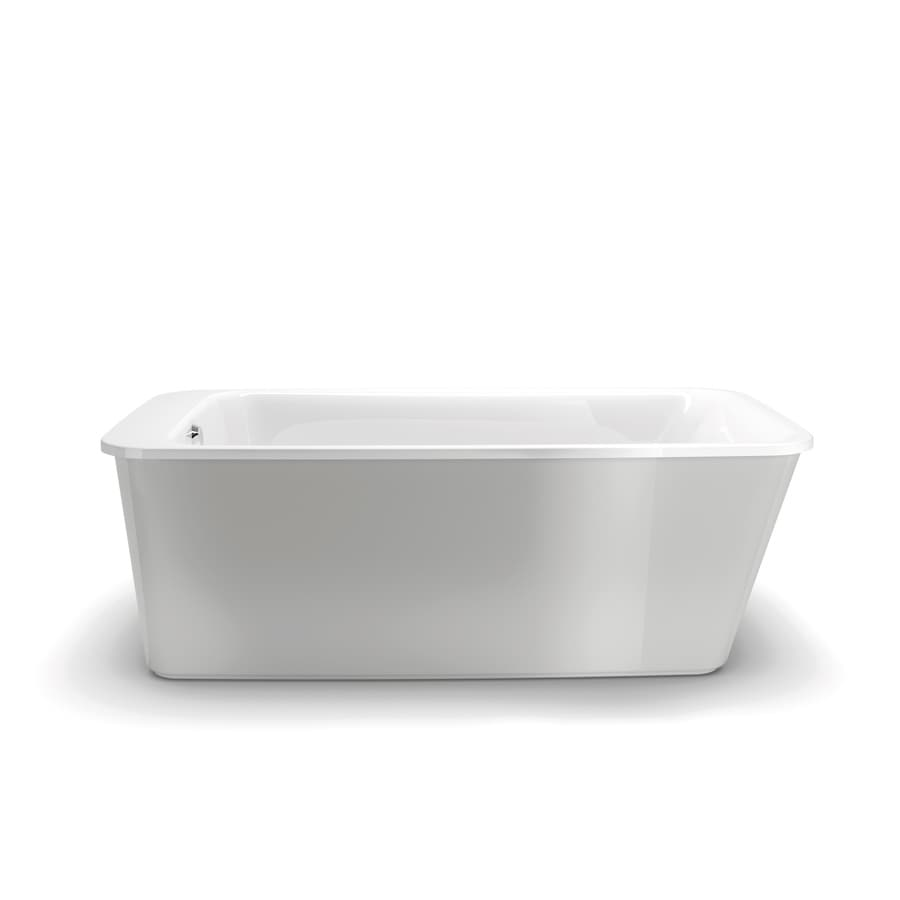 MAAX Lounge 64-in Platinum Grey Acrylic Freestanding Bathtub with Reversible Drain