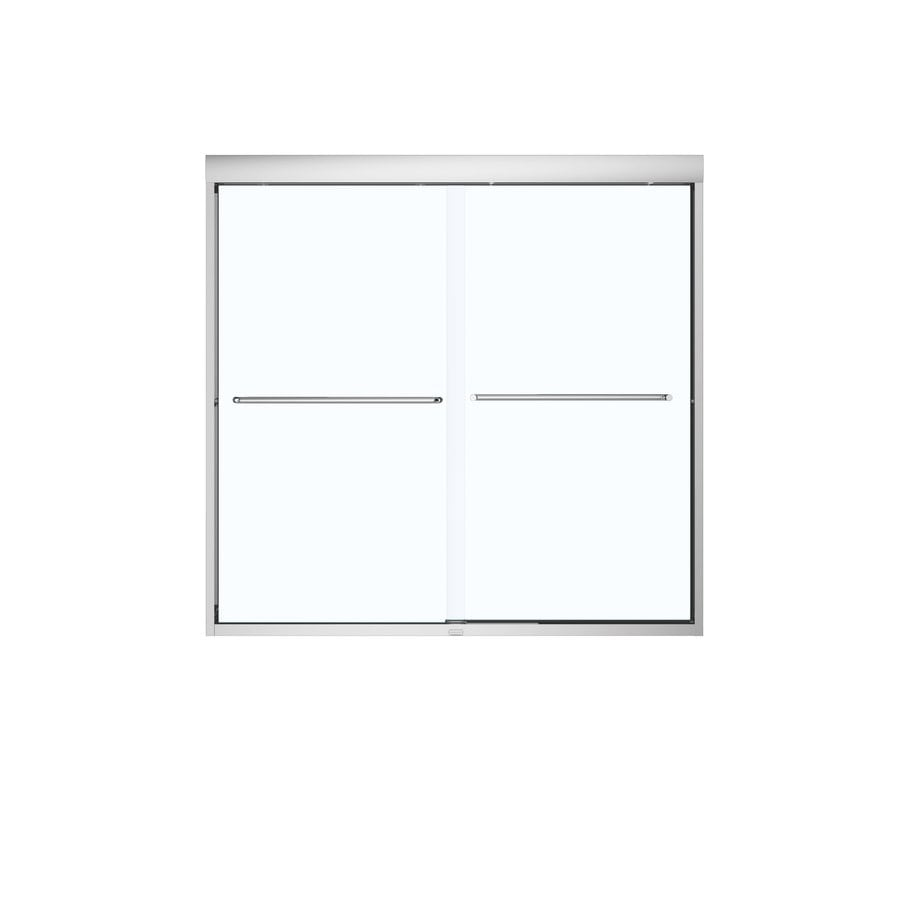 MAAX 59-in W x 57-in H Brushed Nickel Frameless Bathtub Door