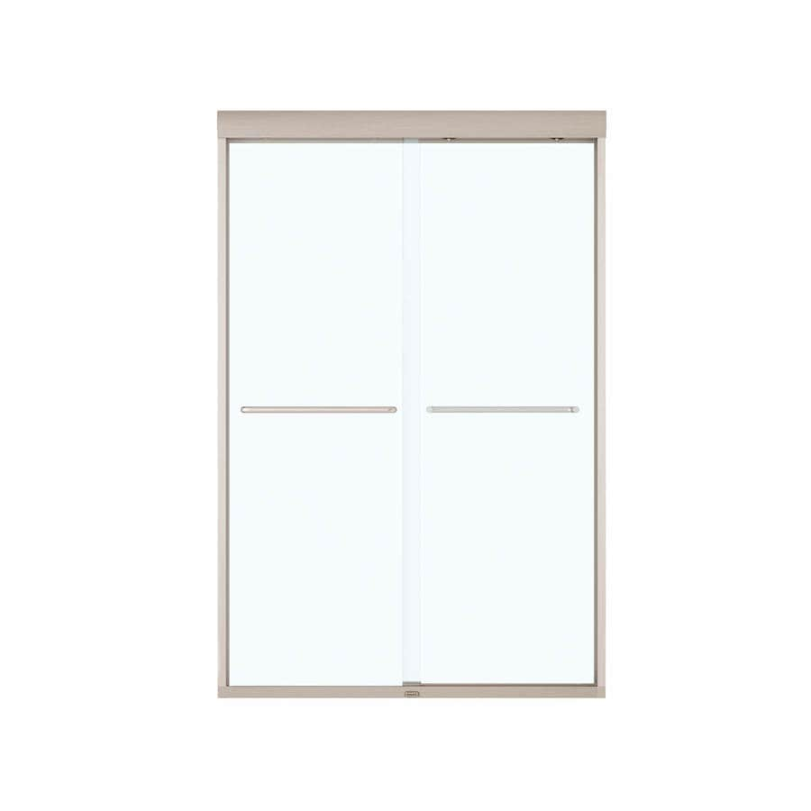 MAAX Aura 43-in to 47-in W x 71-in H Brushed Nickel Sliding Shower Door