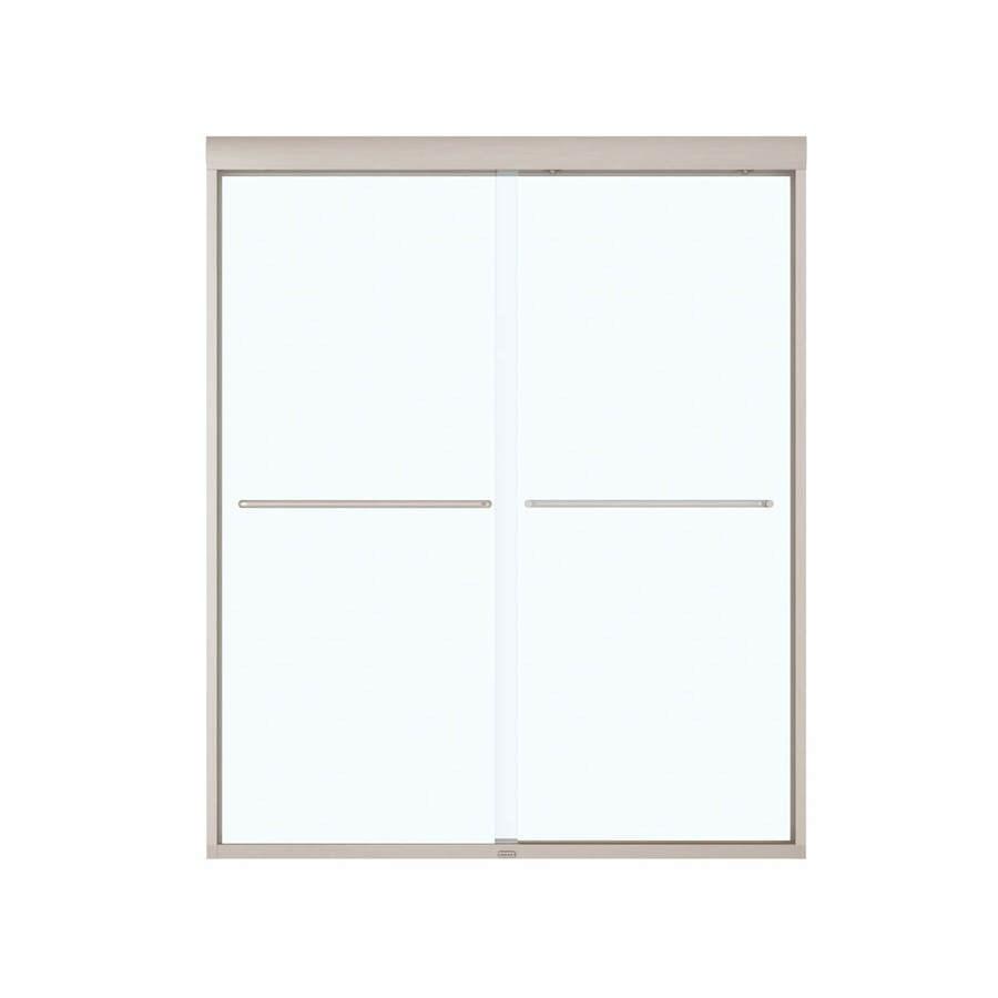 MAAX 55-in to 59-in Framed Brushed Nickel Sliding Shower Door