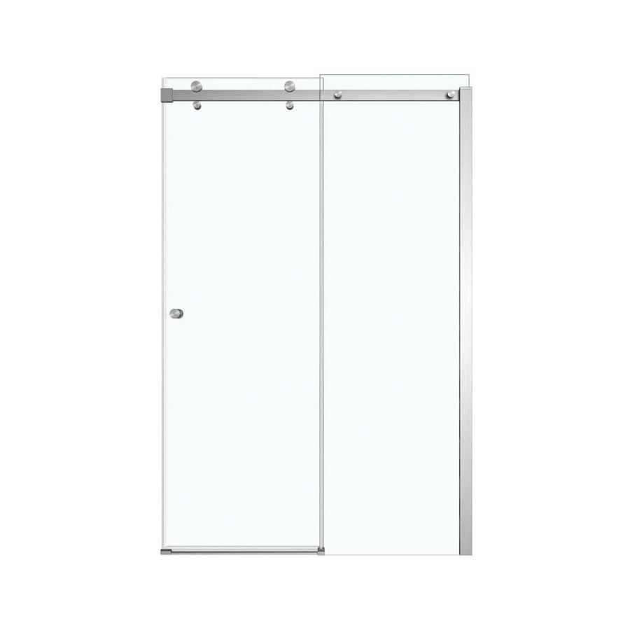 MAAX Luminescence 44.5-in to 47-in Frameless Brushed Nickel Sliding Shower Door