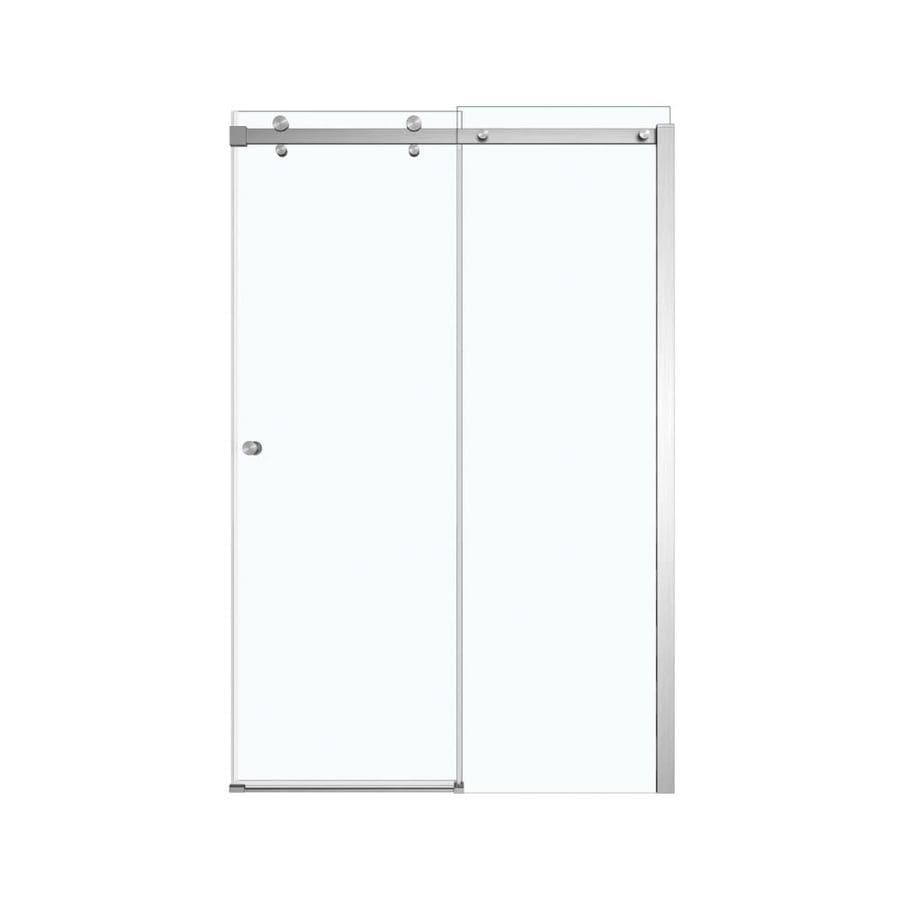 MAAX Luminescence 44 5 in to 47 in Frameless Brushed Nickel Shower Door. Shop MAAX Luminescence 44 5 in to 47 in Frameless Brushed Nickel