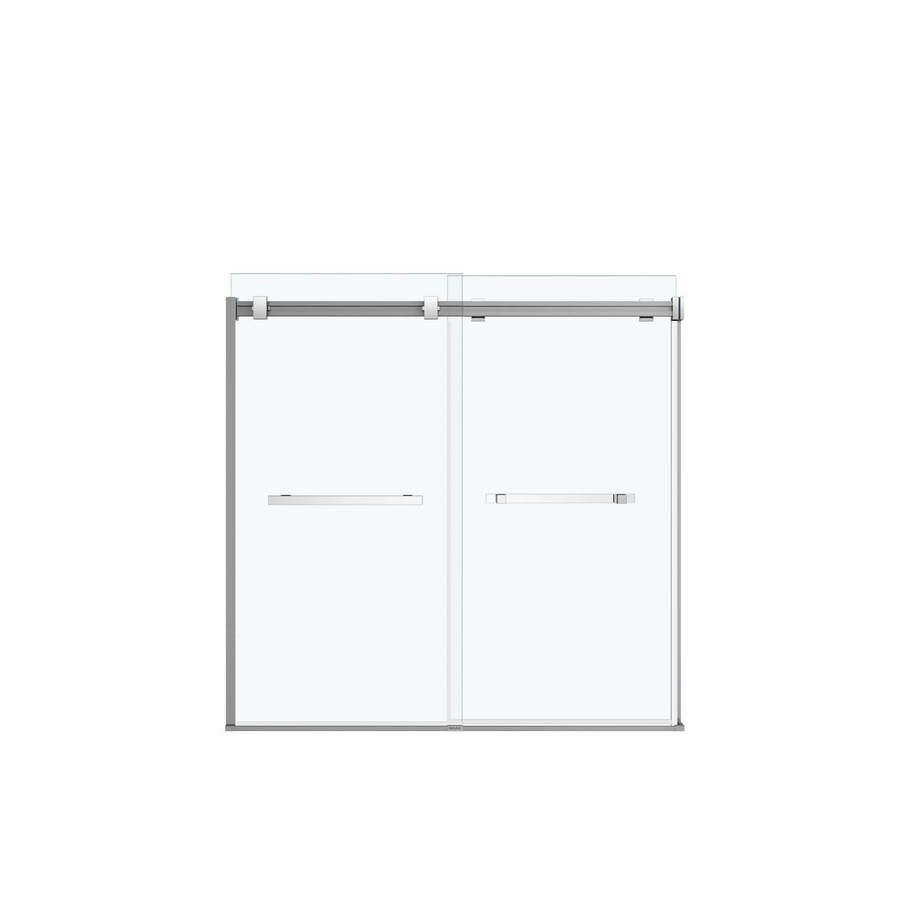 MAAX Duel 59-in W x 59-in H Bright Polished Silver Frameless Bathtub Door