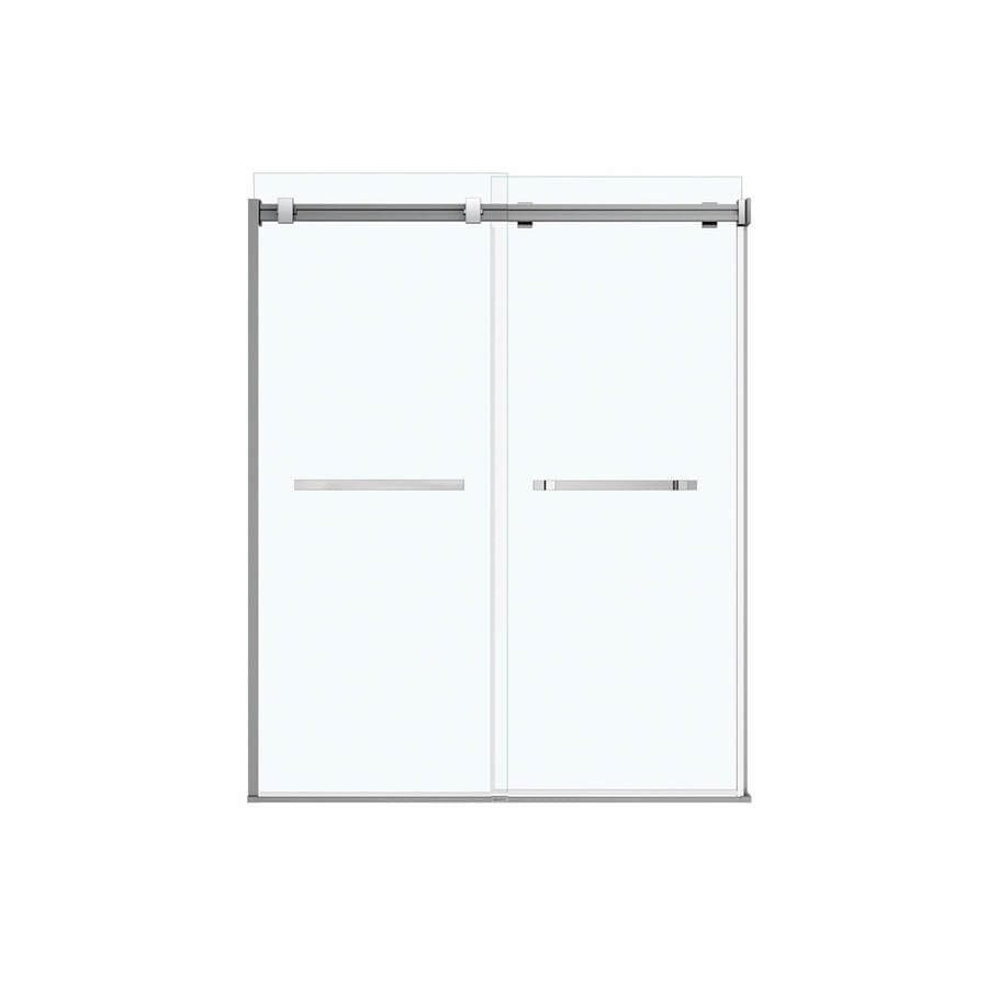MAAX Duel 56.5-in to 59-in W Frameless Chrome Sliding Shower Door