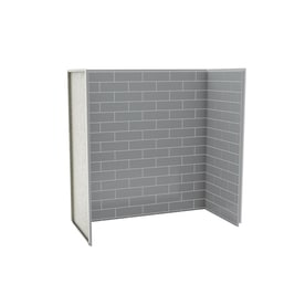 Elegant MAAX Metro Ash Grey Fiberglass/Plastic Composite Bathtub Wall Surround  (Common: 30