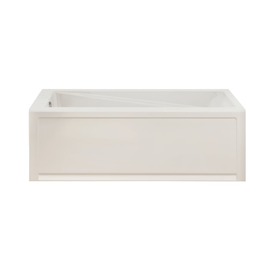 MAAX White Acrylic Rectangular Skirted Bathtub with Left-Hand Drain (Common: 30-in x 60-in; Actual: 19.25-in x 30-in x 59.75-in)