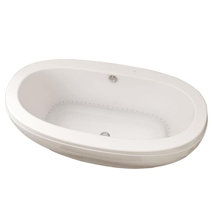Shop MAAX Reverie 67-in White Acrylic Oval Center Drain Freestanding ...