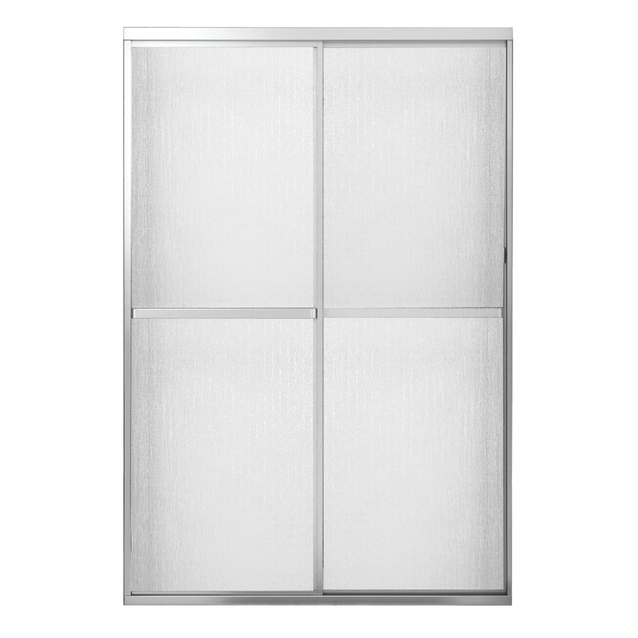 MAAX 54-in to 59.5-in Framed Satin Nickel Sliding Shower Door