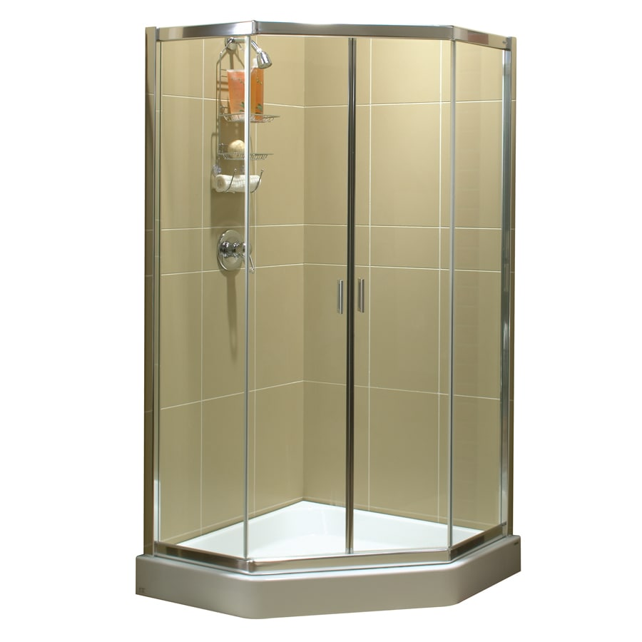 corner shower stalls lowes. Plain Stalls MAAX 38in W X 75in H Polished Chrome Frameless NeoAngle To Corner Shower Stalls Lowes M