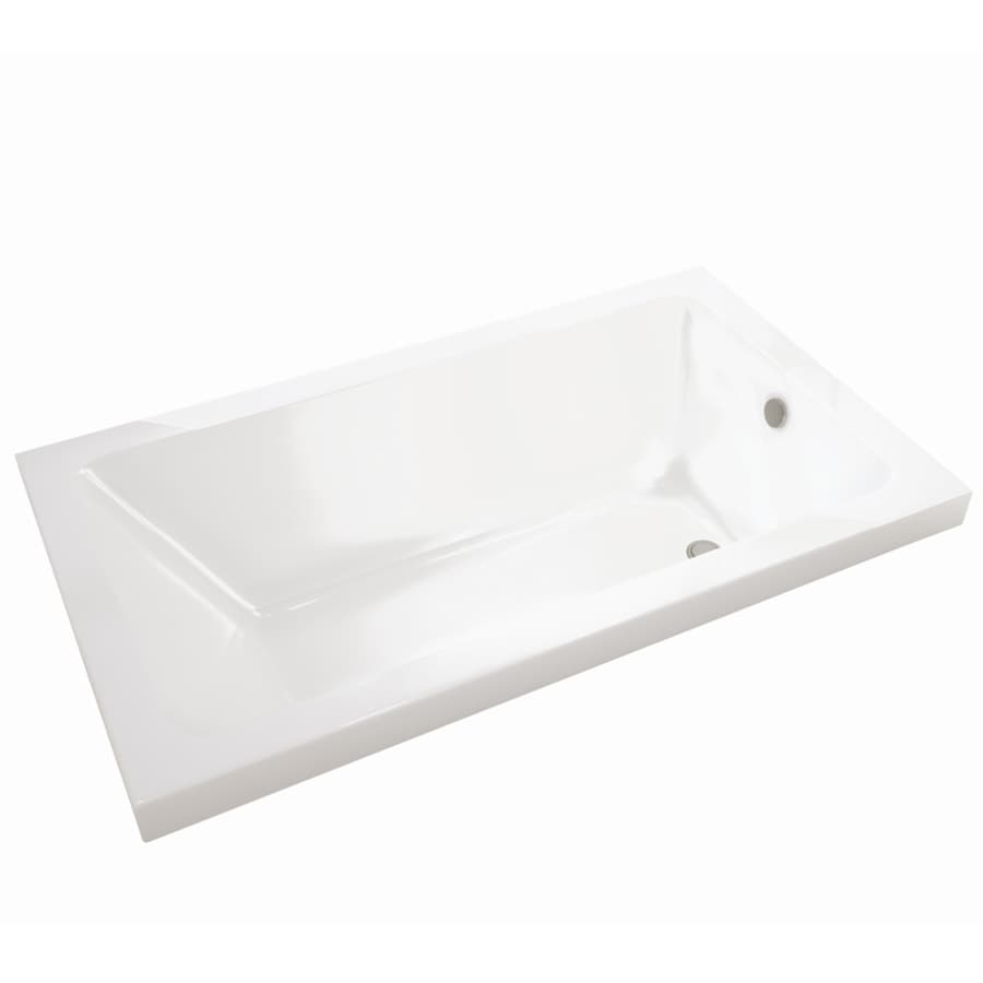 MAAX Skybox 72-in White Acrylic Drop-In Bathtub with Reversible Drain