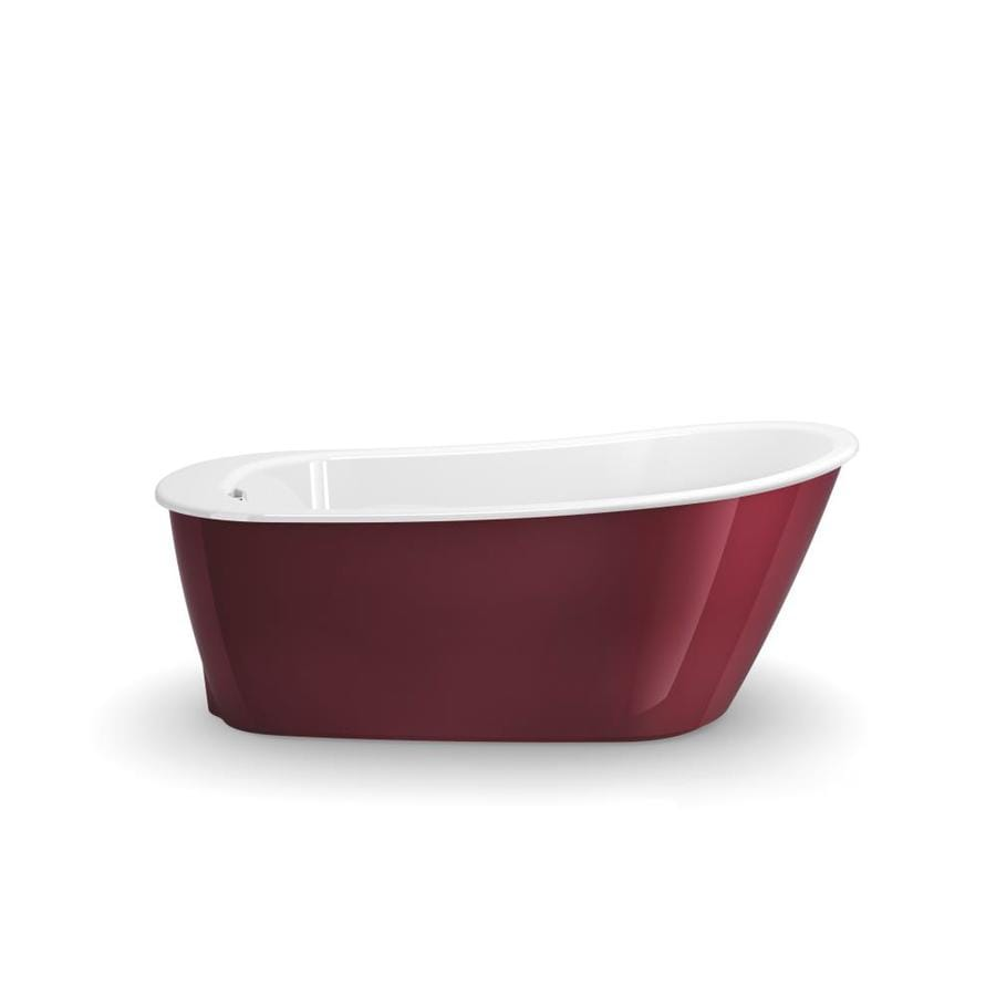 MAAX Sax Ruby Gelcoat and Fiberglass Oval Freestanding Bathtub with Reversible Drain (Common: 32-in x 60-in; Actual: 24.875-in x 32-in x 60-in)