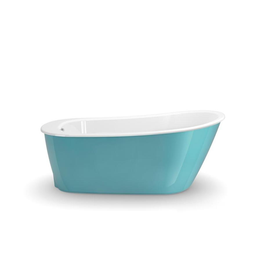 Shop maax sax 60 in aqua gelcoat fiberglass freestanding for Fiberglass garden tub