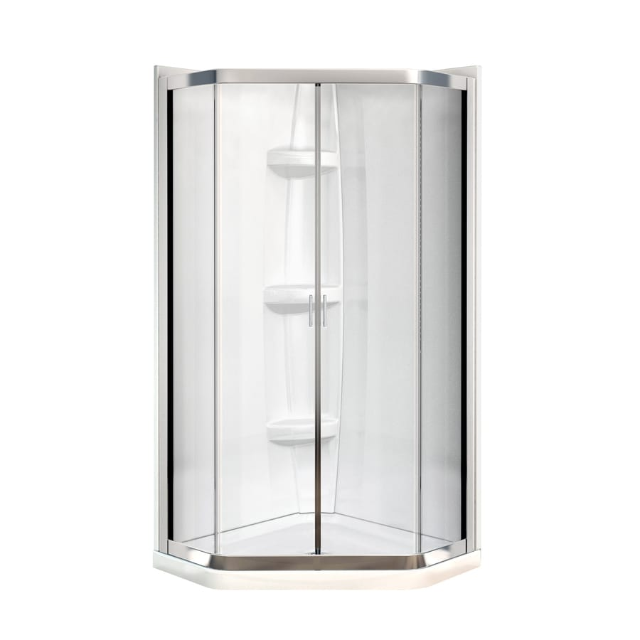 MAAX Intuition Neo-Angle Chrome Acrylic Wall Acrylic Floor Neo-Angle 4-Piece Corner Shower Kit (Actual: 73-in x 36.125-in x 36.125-in)