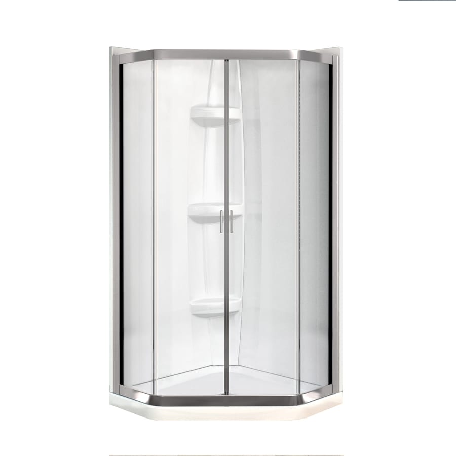 Shop MAAX Intuition Neo-Angle Brushed Nickel Acrylic Wall Acrylic ...