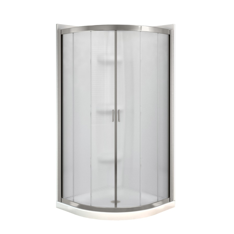 MAAX Intuition Neo-Round Brushed Nickel Acrylic Wall Acrylic Floor Round 4-Piece Corner Shower Kit (Actual: 73-in x 40.25-in x 40.25-in)