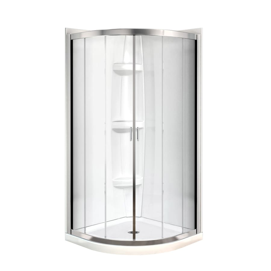 MAAX Intuition Neo-Round Chrome Acrylic Wall Acrylic Floor Round 4-Piece Corner Shower Kit (Actual: 73-in x 40.25-in x 40.25-in)