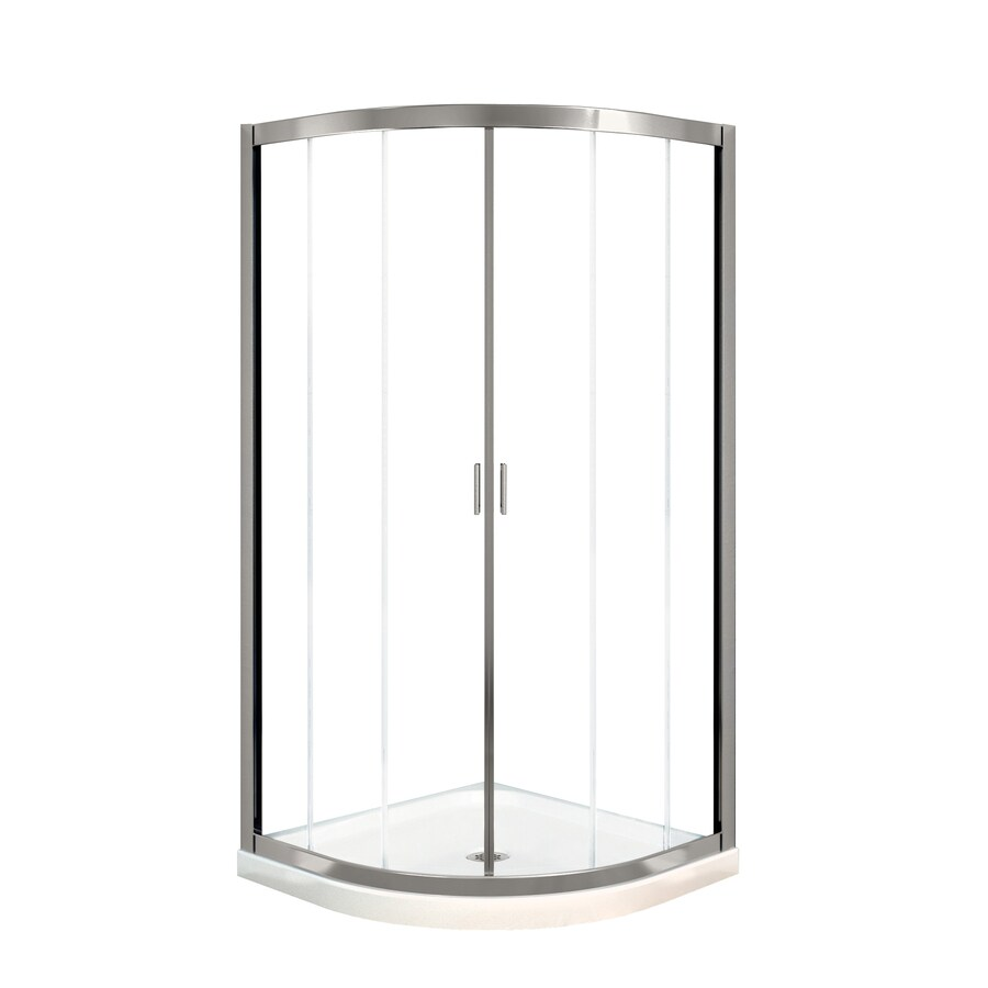 MAAX Intuition Nickel Acrylic Floor Round 2-Piece Corner Shower Kit (Actual: 73-in x 40.125-in x 40.125-in)