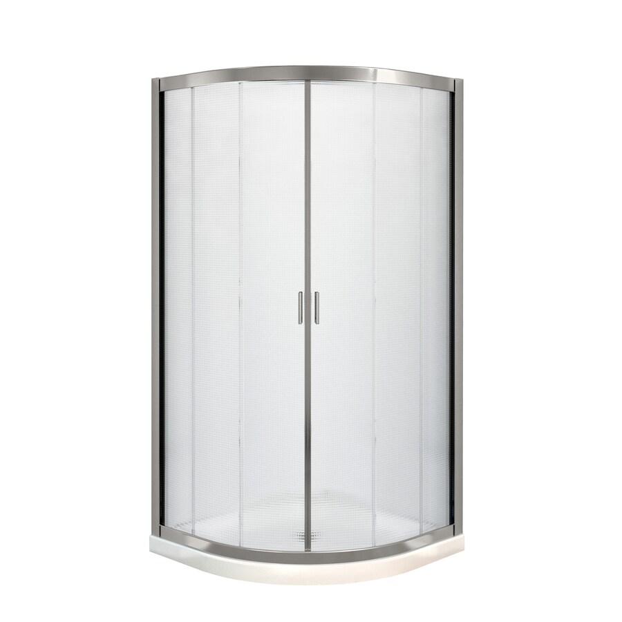 MAAX Intuition Nickel Acrylic Floor Round 2-Piece Corner Shower Kit (Actual: 73-in x 40.125-in x 40.125-in)