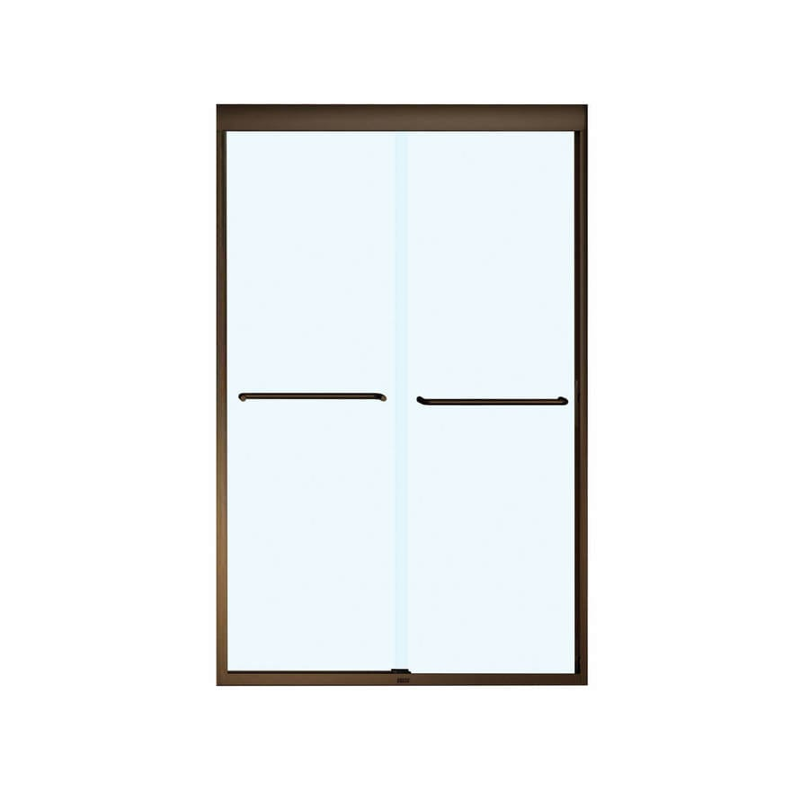 MAAX Aura 6 43-in to 47-in W Frameless Dark Bronze Sliding Shower Door