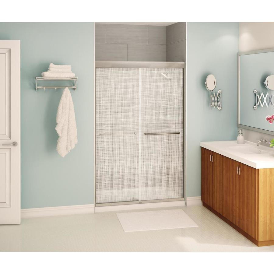 MAAX 43-in to 47-in Frameless Brushed Nickel Sliding Shower Door