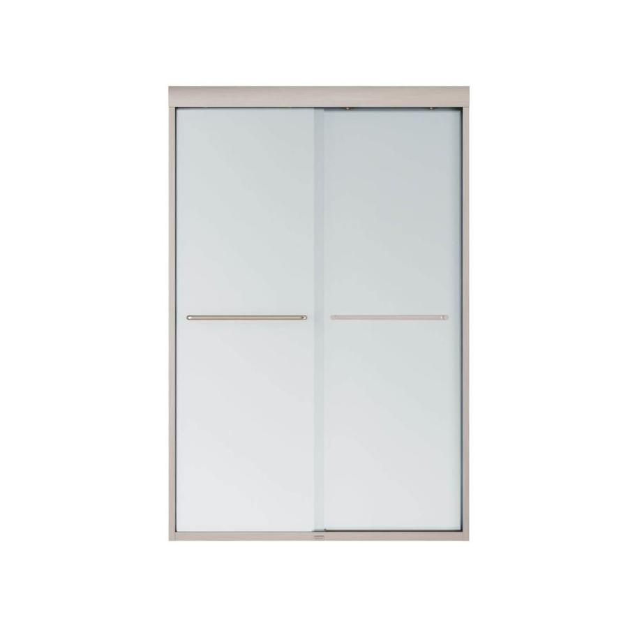 MAAX Aura 6 43-in to 47-in W Frameless Brushed Nickel Sliding Shower Door