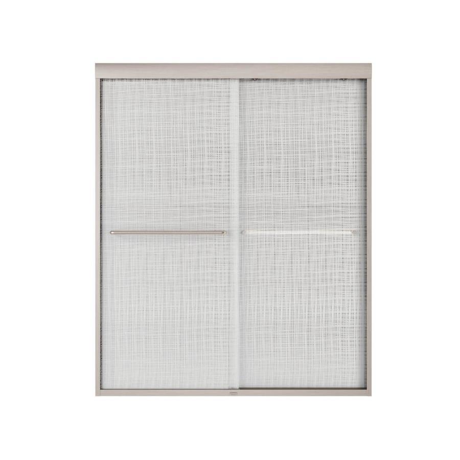 MAAX Aura 6 55-in to 59-in W Frameless Brushed Nickel Sliding Shower Door