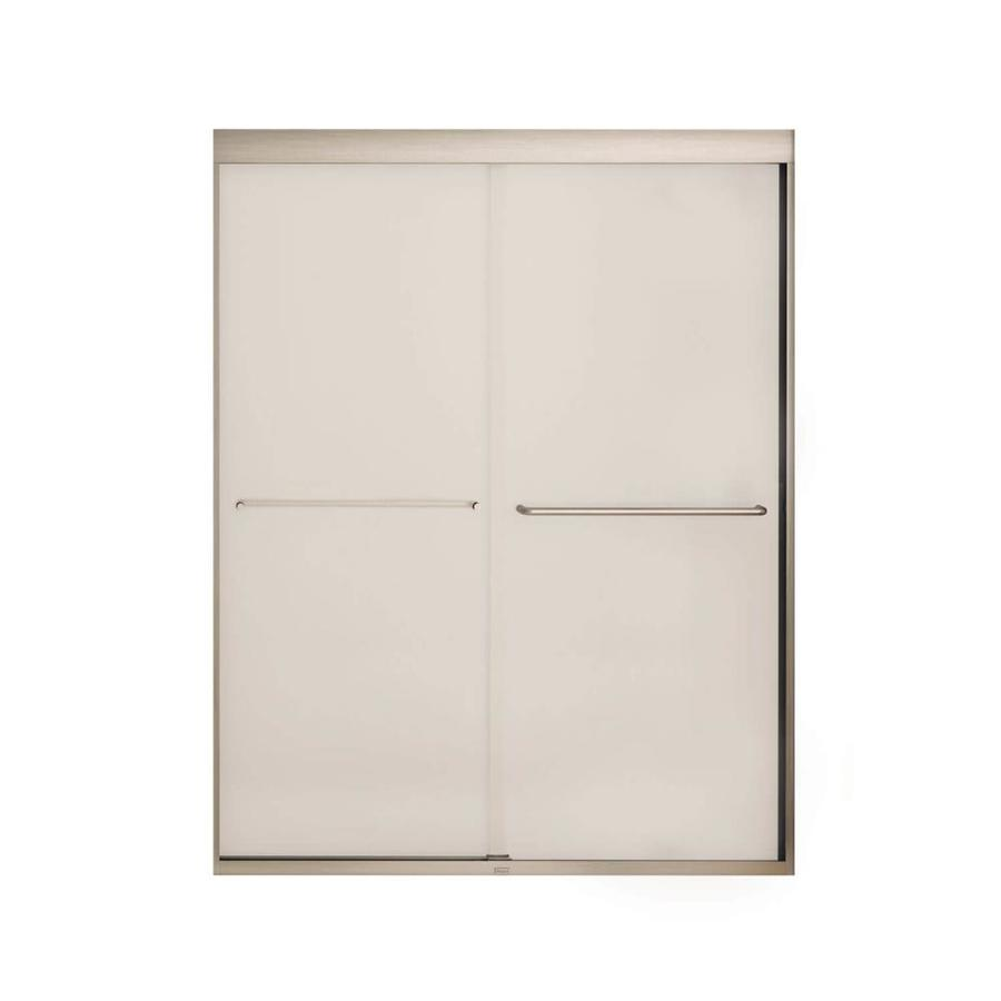 MAAX Aura 6 55-in to 59-in Frameless Brushed Nickel Sliding Shower Door