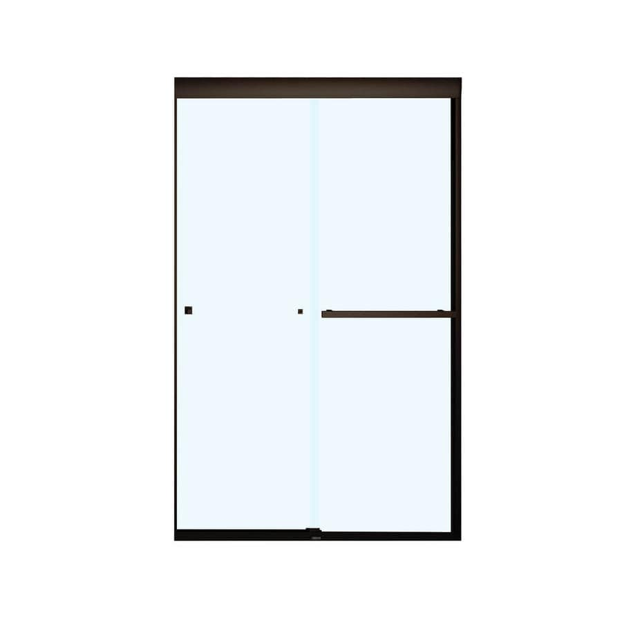 MAAX Aura 43-in to 47-in W Frameless Dark Bronze Sliding Shower Door