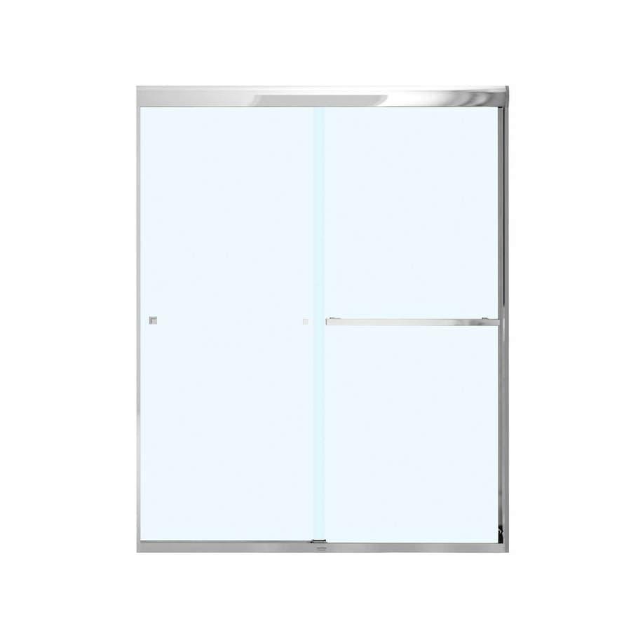 MAAX 55-in to 59-in W Frameless Chrome Sliding Shower Door
