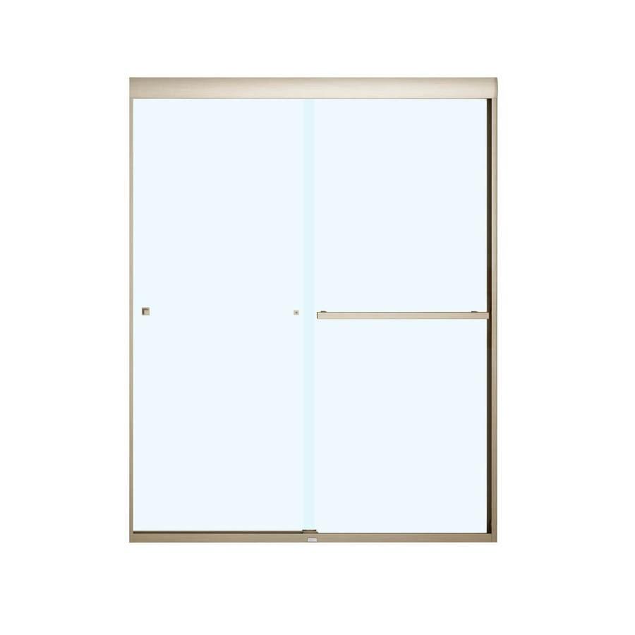 MAAX Aura 8 55-in to 59-in Frameless Brushed Nickel Sliding Shower Door