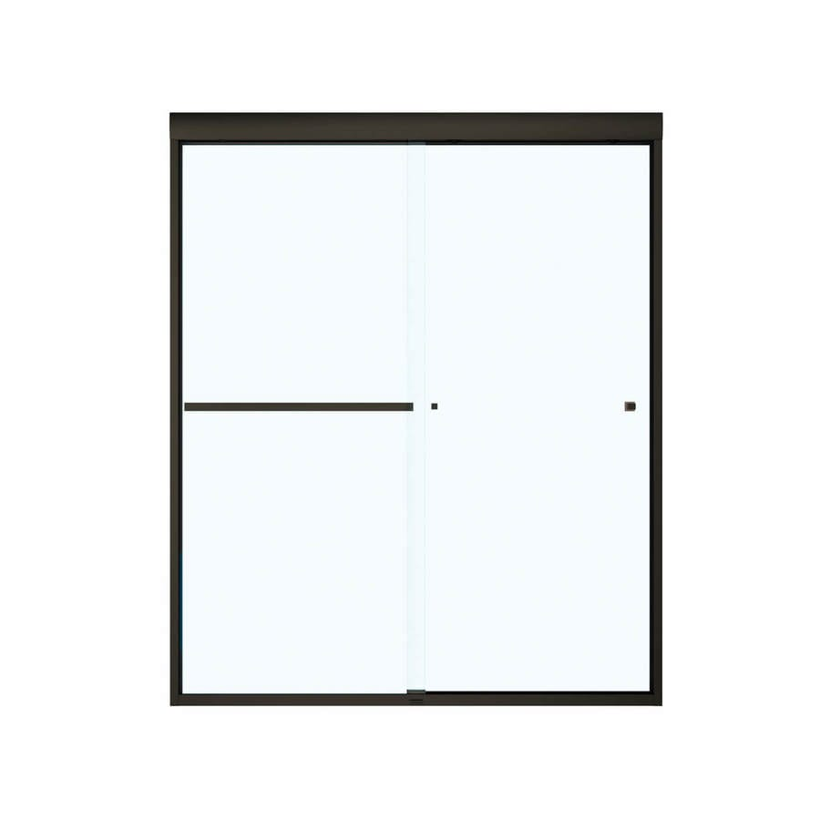 MAAX 55-in to 59-in Frameless Dark Bronze Sliding Shower Door