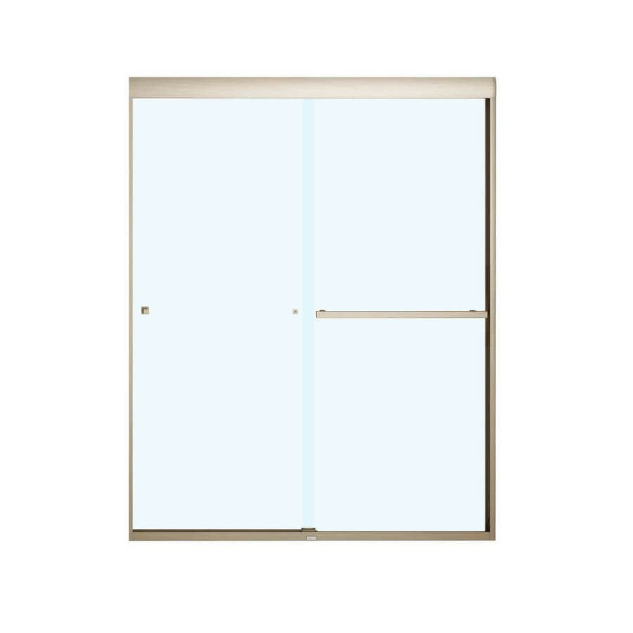 MAAX 55-in to 59-in W Frameless Brushed Nickel Sliding Shower Door