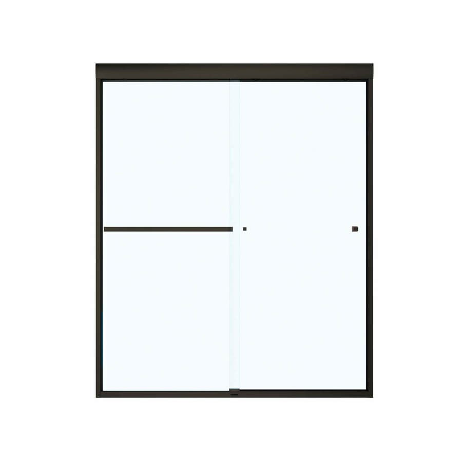 MAAX 55-in to 59-in Frameless Brushed Nickel Sliding Shower Door