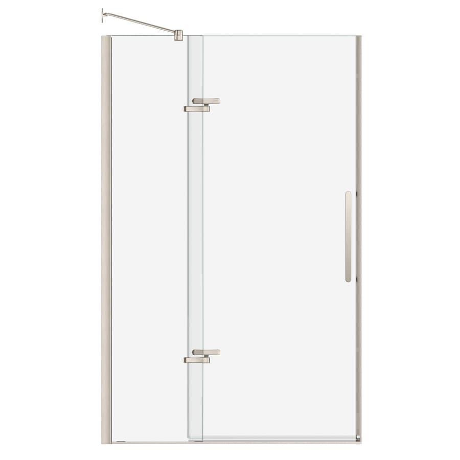 MAAX 44-in to 47-in Frameless Brushed Nickel Pivot Shower Door