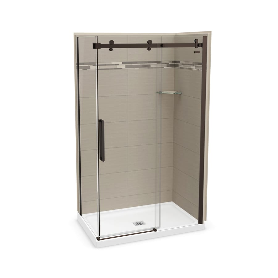 MAAX Utile Origin Greige Fiberglass/Plastic Composite Wall and Acrylic Floor Rectangle 5-Piece Corner Shower Kit (Actual: 83.5-in x 32-in x 48-in)
