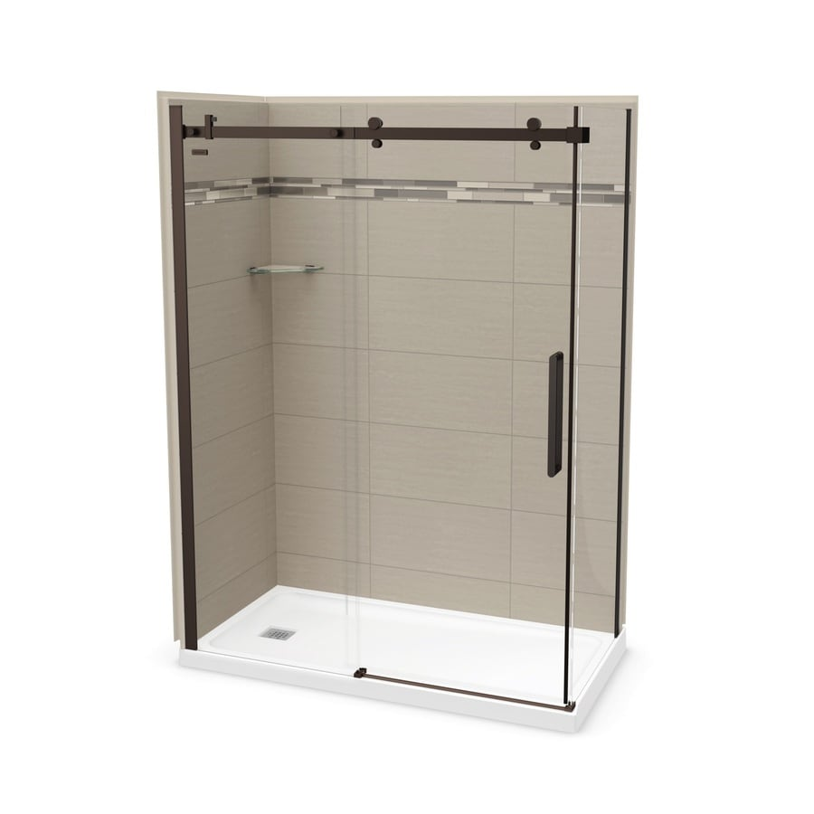 MAAX Utile Origin Greige Fiberglass/Plastic Composite Wall and Acrylic Floor Rectangle 5-Piece Corner Shower Kit (Actual: 83.5-in x 32-in x 60-in)