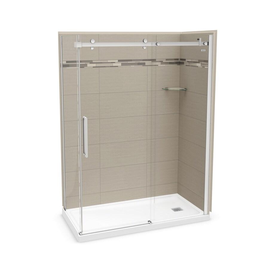 MAAX Utile Origin Greige Fiberglass/Plastic Composite Wall and Acrylic Floor Rectangle 5-Piece Corner Shower Kit (Actual: 83.5-in x 32-in x 60-in)
