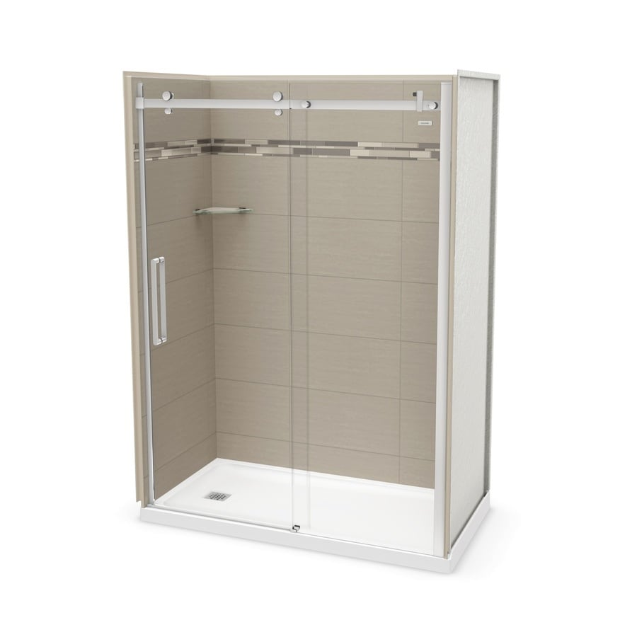 MAAX Utile Origin Greige Fiberglass/Plastic Composite Wall and Acrylic Floor 5-Piece Alcove Shower Kit (Common: 32-in x 60-in; Actual: 83.5-in x 32-in x 59.875-in)