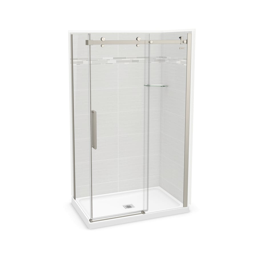 Maax Utile Arctik Grey Fiberglandplastic Composite Wall Acrylic Floor Rectangle 5 Piece Corner Shower Kit