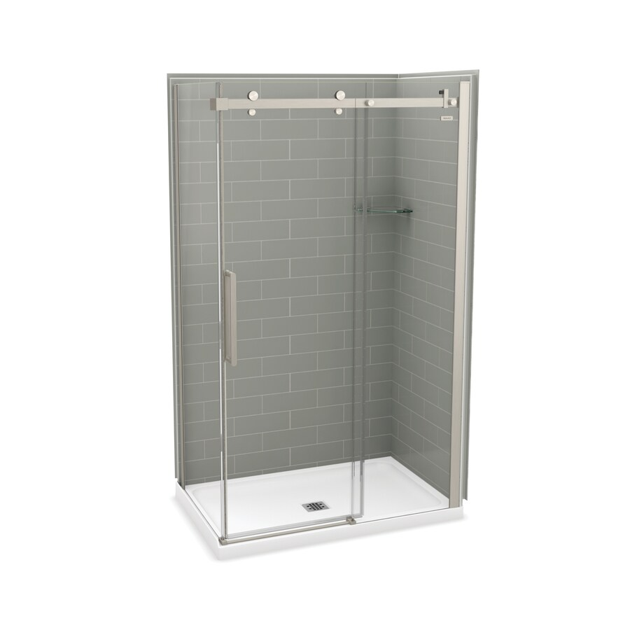 MAAX Utile Metro Ash Grey FiberglassandPlastic composite Wall Acrylic Floor Rectangle 5-Piece Corner Shower Kit (Actual: 83.5-in x 32.0-in x 47.875-in)