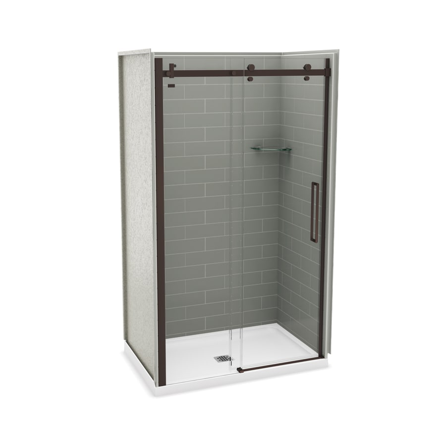 MAAX Utile Ash Grey Fiberglass/Plastic Composite Wall and Acrylic Floor 5-Piece Alcove Shower Kit (Common: 32-in x 48-in; Actual: 83.5-in x 32-in x 47.875-in)