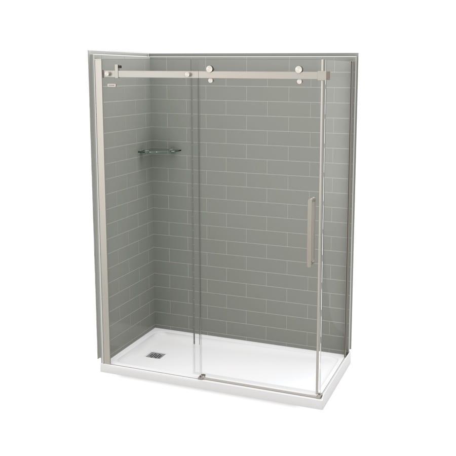 MAAX Utile Metro Ash Grey FiberglassandPlastic composite Wall Acrylic Floor Rectangle 5-Piece Corner Shower Kit (Actual: 83.5-in x 32.0-in x 59.875-in)