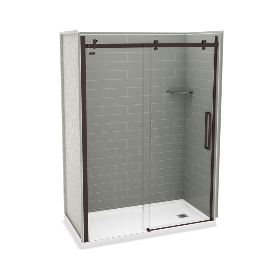 MAAX Utile Ash Grey Fiberglass/Plastic Composite Wall and Acrylic Floor 5-Piece Alcove Shower Kit (Common: 32-in x 60-in; Actual: 83.5-in x 32-in x 59.875-in)