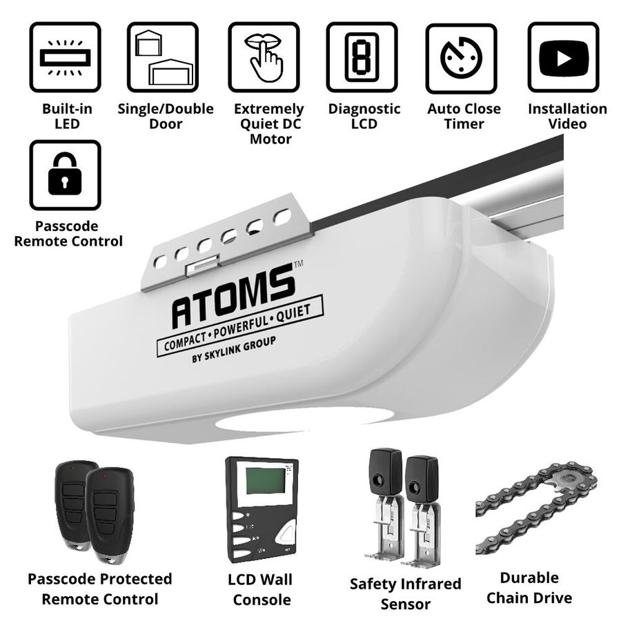 Garage Door Opener Led Lights: Skylink 0.75-HP Atoms Chain Drive Garage Door Opener LED