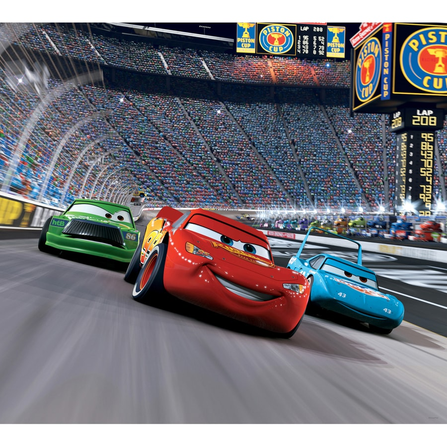 race car track shop disney cars race track mini mural at lowes 12020