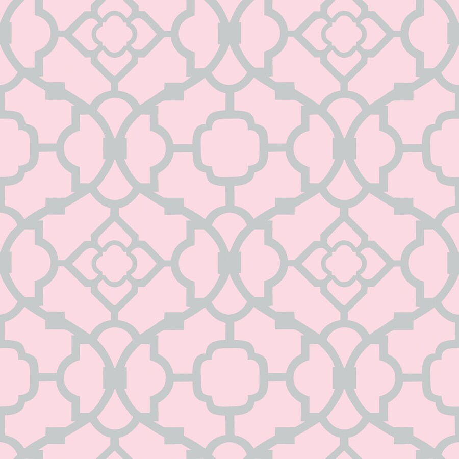 Shop allen roth pink and silver strippable non woven for Pink and silver wallpaper