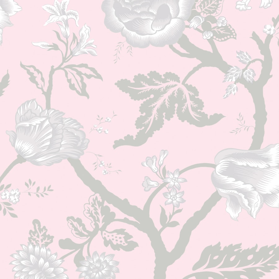 Shop allen roth pink and silver and grey strippable non for Pink and silver wallpaper
